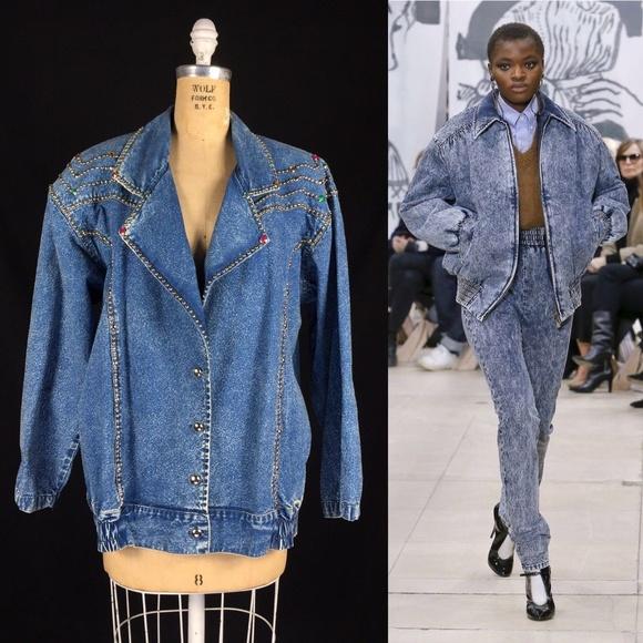 e96c9646c0a Vintage Jackets & Coats | 80s Studded Acid Wash Jean Jacket Runway ...